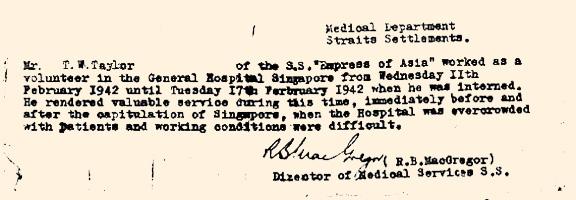 Bill Taylor's Singapore Hospital Letter