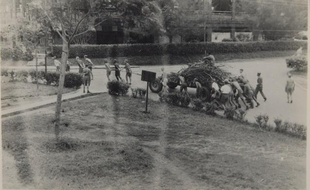 PoWs hauling wood Changi 1942