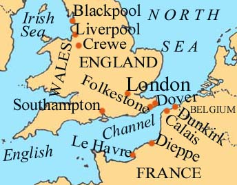Map of English Channel
