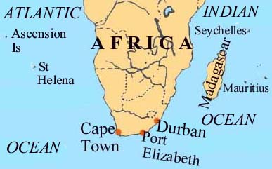 Map of Durban and Area